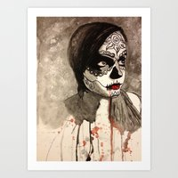 sugar skull Art Prints featuring sugar skull  by Joedunnz