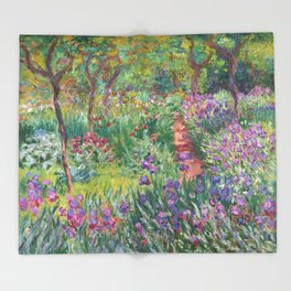 The Iris Garden at Giverny by Claude Monet Throw Blanket