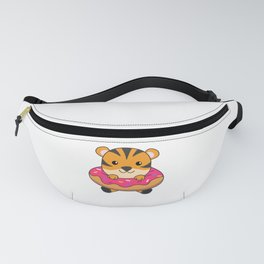 Tiger In Donut Cute Animals For Children In Donuts Fanny Pack