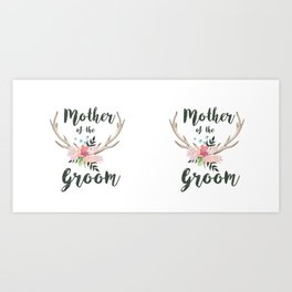 mother of the groom floral antlers Art Print