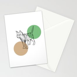 cat in the circle Stationery Cards
