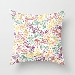 Whimsical bicycle pattern & retro polka dots Throw Pillow