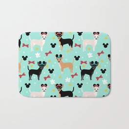 Chihuahua theme park lover dog breed pattern gifts Bath Mat