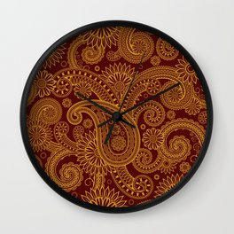 Oriental Persian Paisley, Swirls - Red Yellow Wall Clock