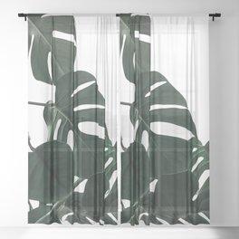 Natural Monstera Leaves Sheer Curtain