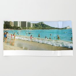 Diamond Head & Waikiki Beach Towel