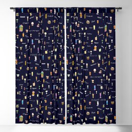 Happy Hour Cocktails and Brews on Dark Blue Blackout Curtain