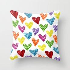 Hearts Parade Throw Pillow
