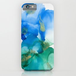 Alcohol Ink Blues and Green Abstract Art iPhone Case