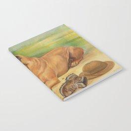 Rhodesian Ridgeback Dog portrait in scenic landscape Painting Notebook