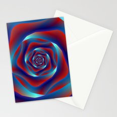 Red and Blues Spiral Rose Stationery Cards