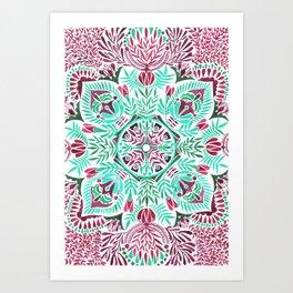 Vibrant floral mandala Art Print