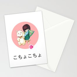 Kokeshi doll tickles maneki neko cat Stationery Cards