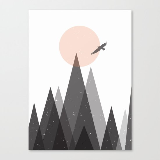 Eagle and mountains Canvas Print