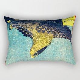 Hiroshige, Hawk Flight Over Field Rectangular Pillow
