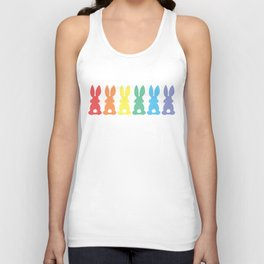 Rainbow Easter Bunny Silhouette Parade Unisex Tank Top