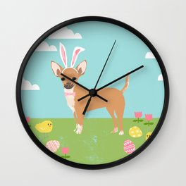 Chihuahua dog breed easter bunny dog costume pet portrait spring chihuahuas Wall Clock