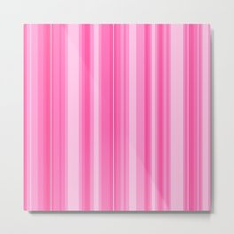 Pink Candy Stripe Metal Print