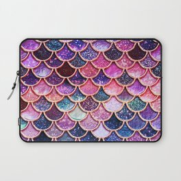 Pink & Purple Trendy Glitter Mermaid Scales Laptop Sleeve