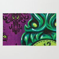 """haunted mansion Area & Throw Rugs featuring Disneyland Haunted Mansion inspired """"Wall-To-Wall Creeps No.3""""  by ArtisticAtrocities"""
