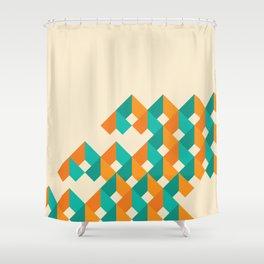 Pattern - Cube - Geen / Orange Shower Curtain