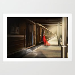 Girl in red at the train station Art Print