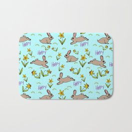 Hoppy Happy Sweet Spring Bunny Floral Design Bath Mat