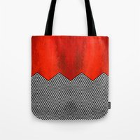"david lynch Tote Bags featuring Twin peaks ""David Lynch"" by Spyck"