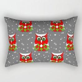 Christmas Snow Owl Pattern Rectangular Pillow