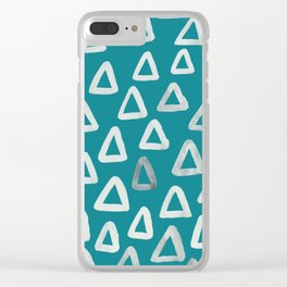 Teal Triangles Clear iPhone Case