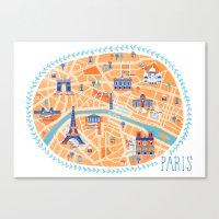 paris map Canvas Prints featuring Paris Map by Emily Golden