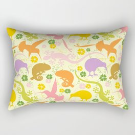 Animals Exotic Pastel Colors Shapes Pattern Rectangular Pillow
