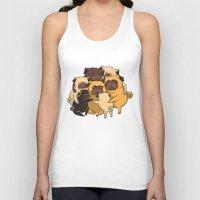 pugs Tank Tops featuring Pugs Group Hug by Huebucket