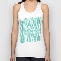 mint Tank Tops featuring Mint Herringbone by Cat Coquillette