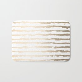 Simply Brushed Lines White Gold Sands on White Bath Mat