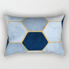 Deco Blue Marble II with Metallic Gold Accents Rectangular Pillow