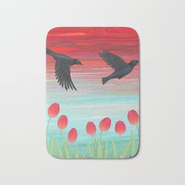 crows, tulips, & snails Bath Mat