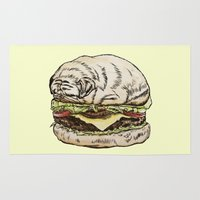 burger Area & Throw Rugs featuring Pug Burger by beart24