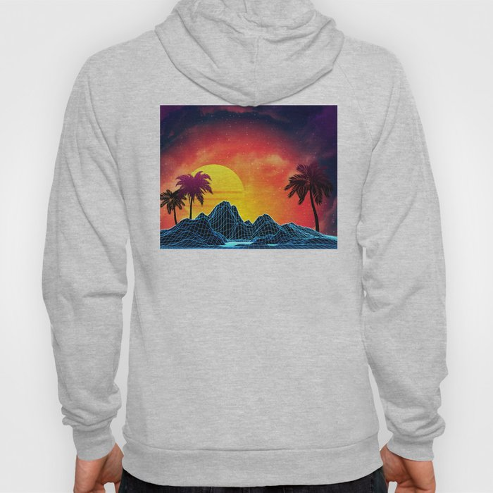 Sunset Vaporwave landscape with rocks and palms Hoody