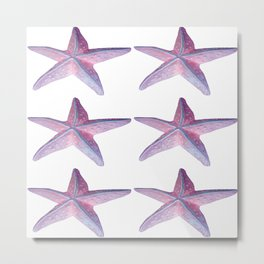 Pink Sea Stars in Six by Aloha Kea Photography Metal Print