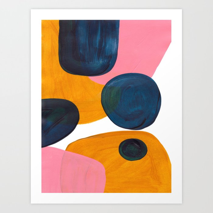 Mid Century Modern Abstract Minimalist Retro Vintage Style Pink Navy Blue Yellow Rollie Pollie Ollie Kunstdrucke