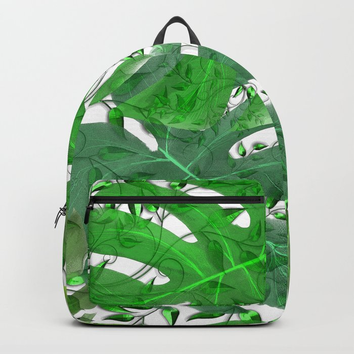 PALM LEAF B0UNTY GREEN AND WHITE Backpack