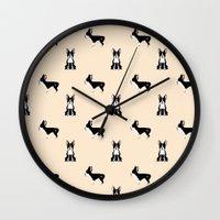 boston terrier Wall Clocks featuring Boston Terrier by Luiza Sequeira