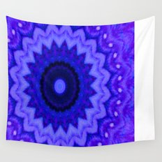 Lovely Healing Mandala  in Brilliant Colors: Black, Purple, and Blue Wall Tapestry