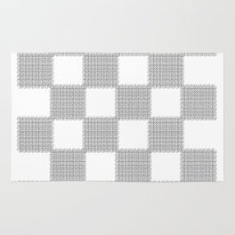 3D Line Drawing Cubes - Checkers Rug