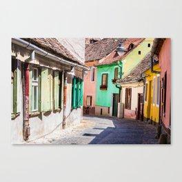 Multi Coloured Cottages Canvas Print