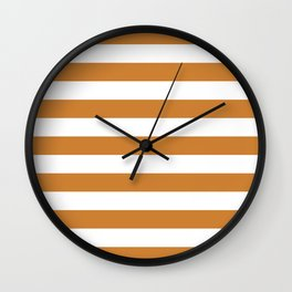 Horizontal Stripes (Bronze/White) Wall Clock