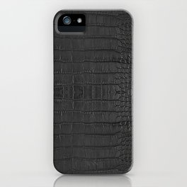 Alligator Black Leather iPhone Case