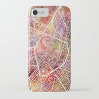 brussels iPhone & iPod Cases featuring Brussels by MapMapMaps.Watercolors