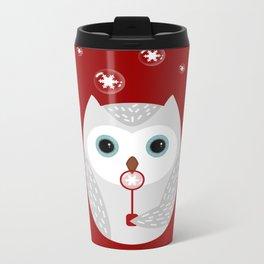 Christmas owl on red Metal Travel Mug